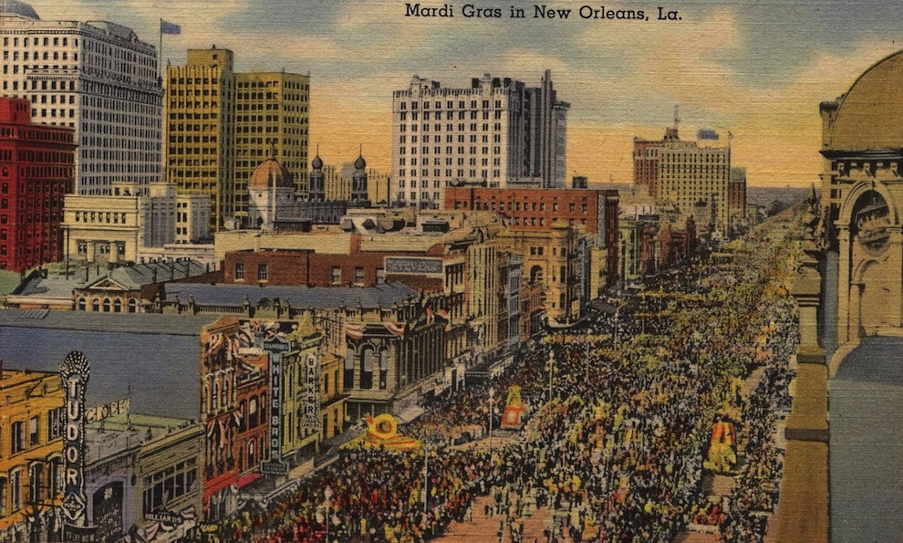 An old postcard of Mardi Gras in New Orleans, by Infrogmation used under a Creative Commons license