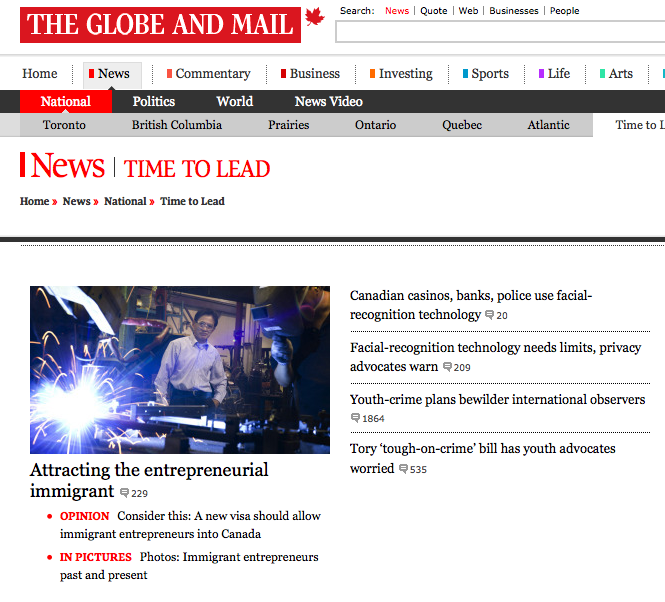 Project - Knight-Batten Awards 2011 - Globe and Mail Canada