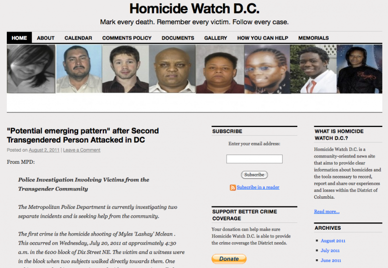 Project - Knight-Batten Awards 2011 - Homicide Watch DC