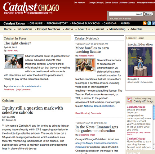 Catalyst education magazine, Chicago - homepage