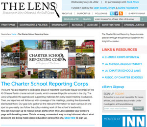 The Lens cover page - Charter School Reporting Corps
