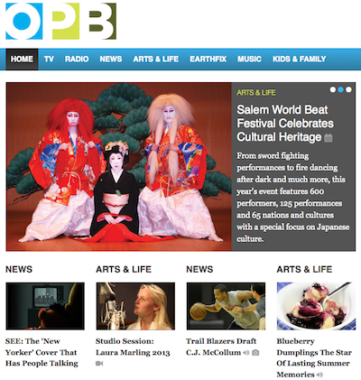 Oregon Public Broadcasting homepage