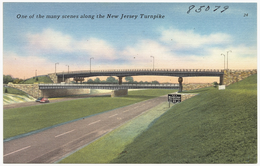 An old postcard of the New Jersey Turnpike