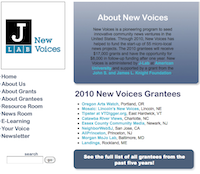 New Voices Homepage - screenshot